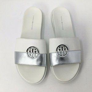 Tommy Hilfiger Souli Slides~NWT~White~Silver~Logo~